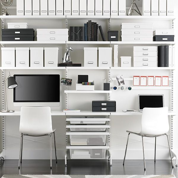 Awesome White Elfa Décor Freestanding Home Office
