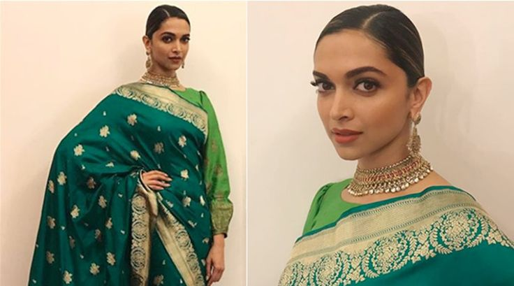 Deepika Padukone looks like royalty in a rich green sari Padmavati promotions - The Indian Express #757Live