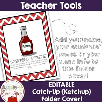 Having students absent from school can be a mess when it comes to getting them to complete their work and bring it back. These 'Ketchup' folders are sent home and students return their work and the folder when the work is completed. How to set it up: 1 - Edit your