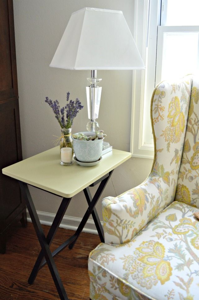 Repurposed TV Tray-this is kinda plain, BUT I'm thinking you could stencil wooden tv trays from a yard sale :))