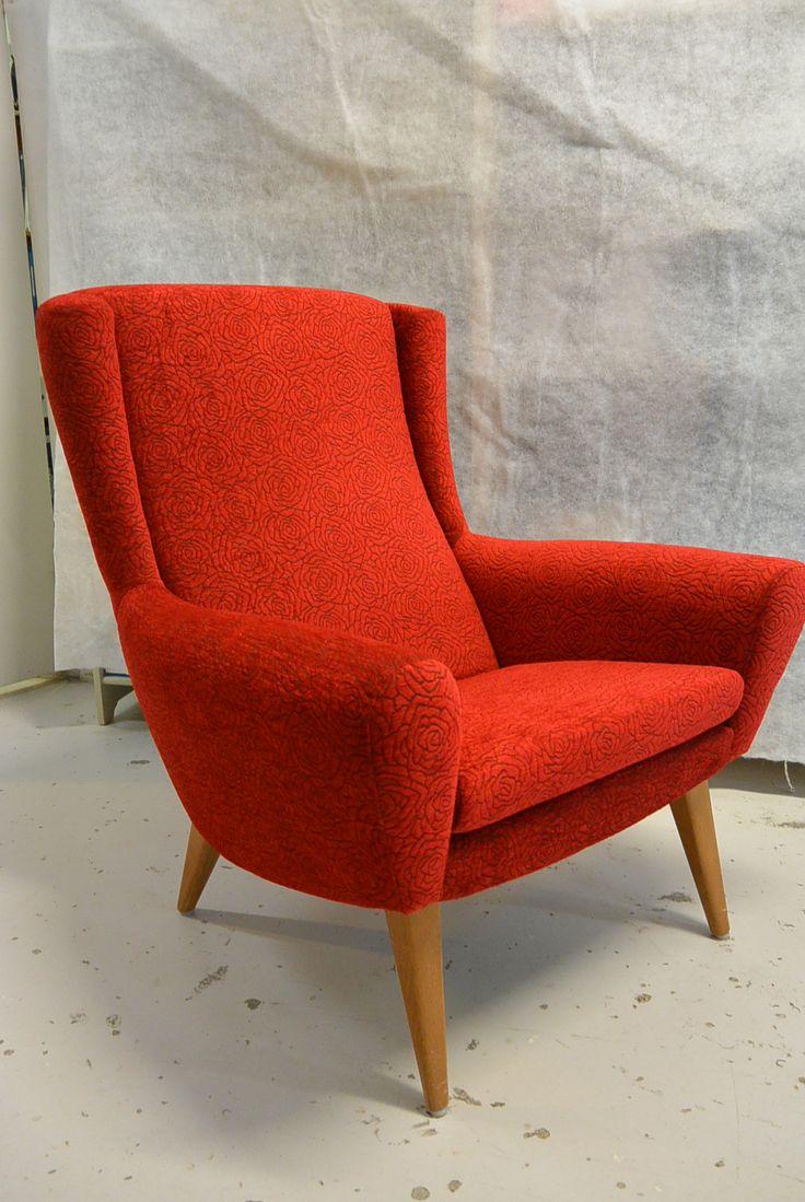 50-luvun nojatuoli uudelleen verhoiltu