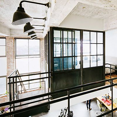 Brookyn loft | steel framed windows | open plan | loft living | via Roseland Greene