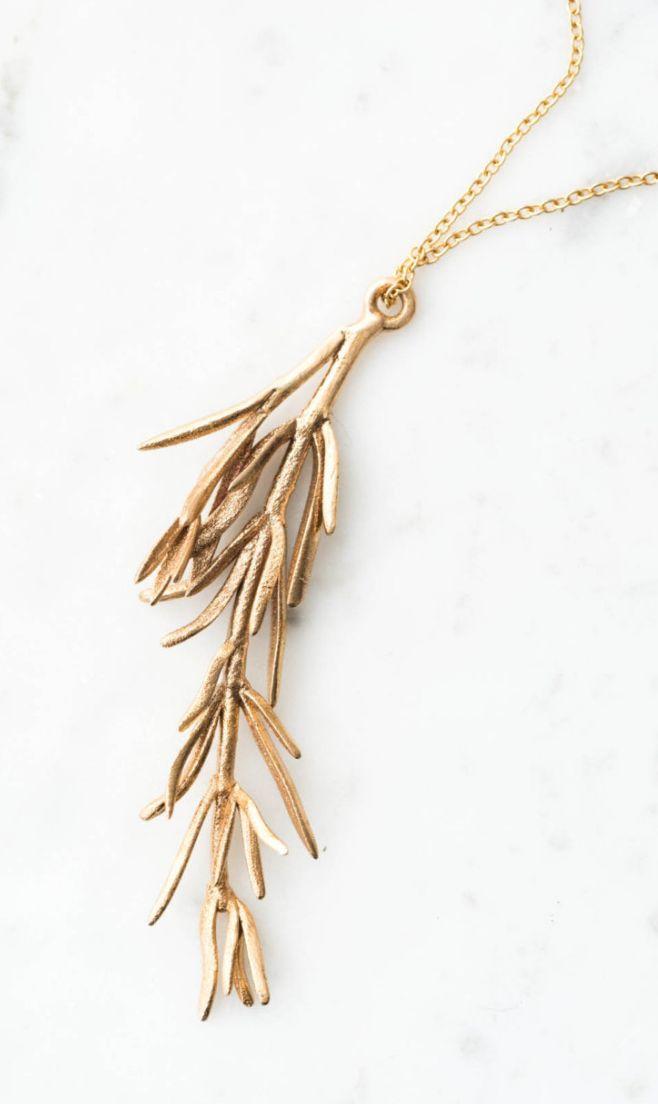 Rosemary Botanical Pendant Necklace | Etsy