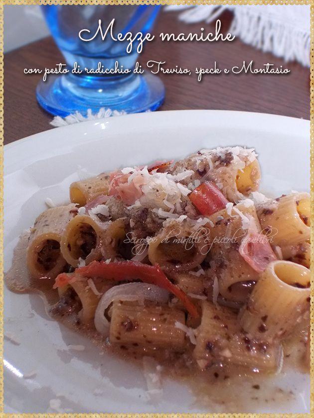 Mezze maniche con pesto di radicchio di Treviso, speck e Montasio (Pasta with Treviso Red Chicory pesto, speck and Montasio)