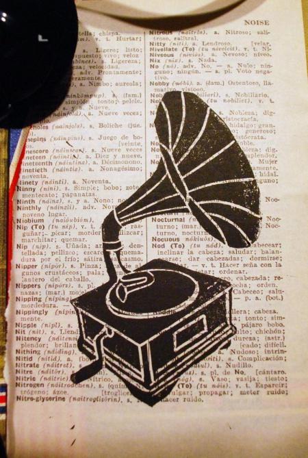 Gramophone linocut