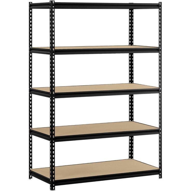Black Garage Storage Muscle Rack 5 Shelf Steel Shelving, 48W X 24D X 72H