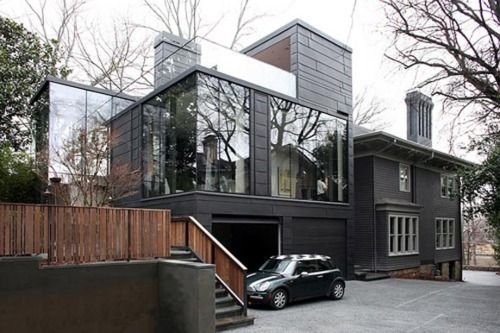 Really nice mix of glass and original house