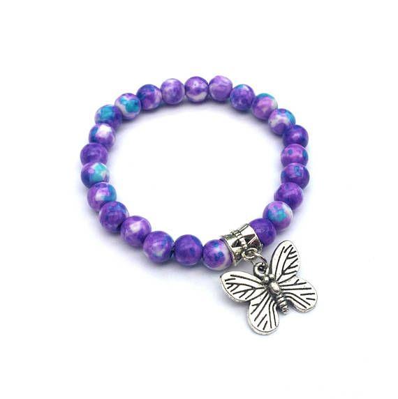 Purple butterfly bracelet kids bracelet childrens jewellery