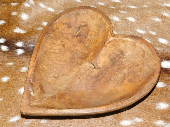 Carved Wooden Heart Shaped Dough Bowl Primitive Wood Trencher Tray Rustic Home Decor 11 1 4 Inch In 2020 Wooden Hearts Carved Wooden Bowl Carving