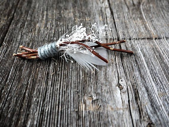Rustic Feather Boutonniere, Wood Boutonniere, Turkey Feather, Groomsmen Boutonniere, White and Brown Boutonniere, Groom, Stardust Gypsum