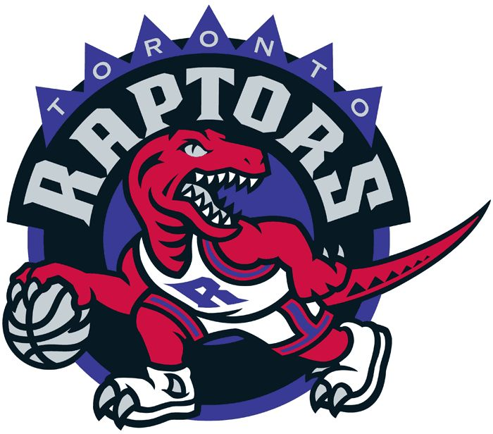 Toronto Raptors Basketball Primary Logo (1996) - A red dinosaur dribbling a basketball on a purple circle with a black semi-circle above