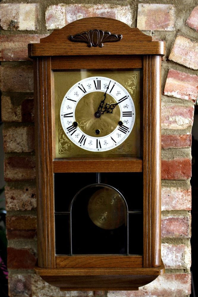 Vintage Art Deco West German Wall Clock With Westminster