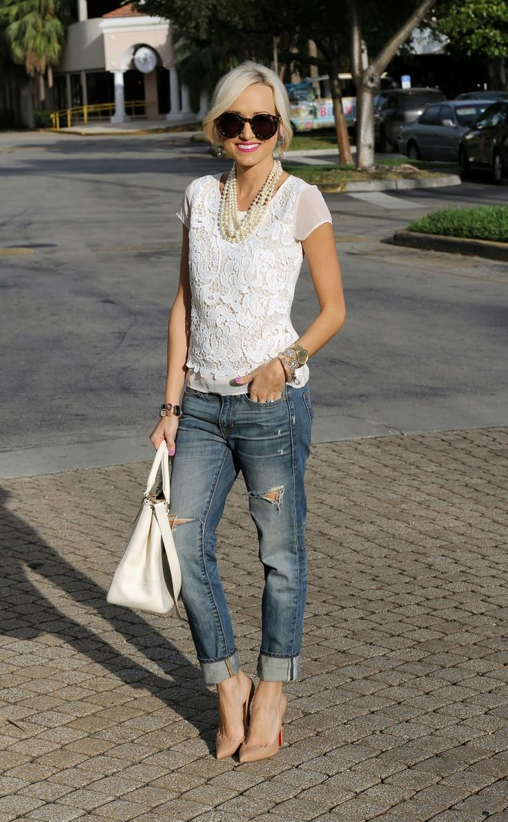 A Spoonful of Style: Lacey... Ann Taylor top, Gap jeans, Louboutins, Tory Burch bag