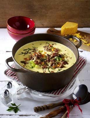 Das Rezept für Käse-Porree-Suppe mit Hack-Topping und weitere kostenlose Rezepte auf LECKER.de