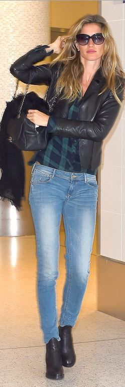 Who made  Gisele Bundchen's black sunglasses, ankle boots, green plaid shirt, and leather handbag?