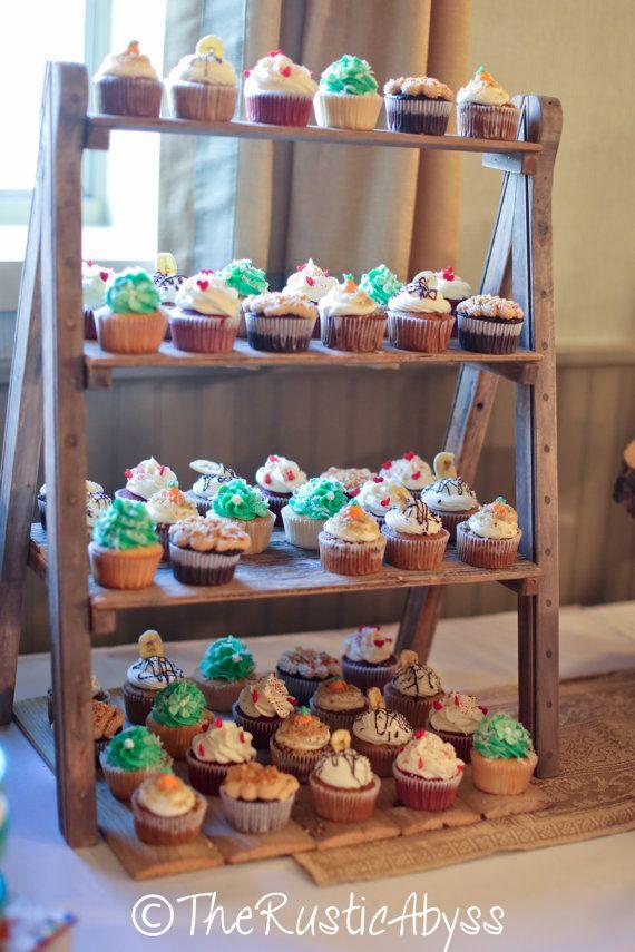 cupcake stand rustic wedding reclaimed wood barn tiered ladder cupcake stands cupcake and rustic. Black Bedroom Furniture Sets. Home Design Ideas