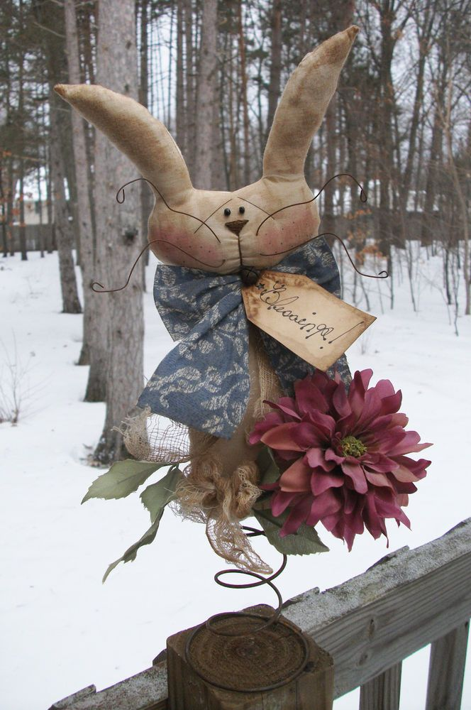 PrimiTive Spring Rabbit Bunny Doll Tree Topper Easter RusTy Nodder Decoration #NaivePrimitive #MelissaHarmon
