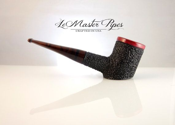 Hand carved briar wood tobacco pipe THE RED POKER