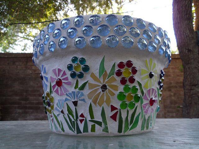 Flower Pot - Other Side by Elsieland Mosaics, via Flickr
