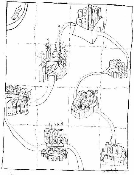 """Eutropia, illustrazione di Cristina Berardi per """"Città Invisibili"""" di Italo Calvino, 1995, inchiostro"""