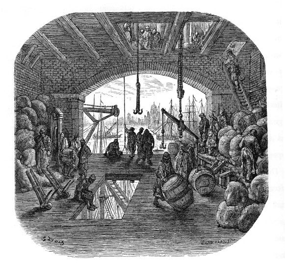 "Warehouse by the Thames (from Blanchard Jerrold and Gustave Doré's 1872 ""London: A Pilgrimage"")"