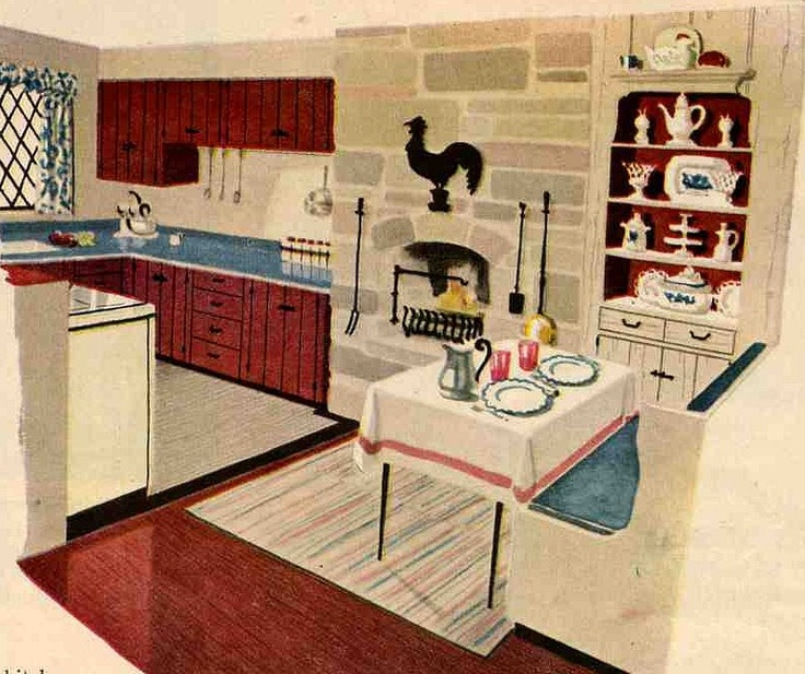 50's colonial: 60S Kitchen, 1950S Kitchens, 1950 S Kitchens, 50S Colonial, Kitchens Cabinets, Houses Kitchens, Retro Vintage, Retro Kitchens, Retro Houses