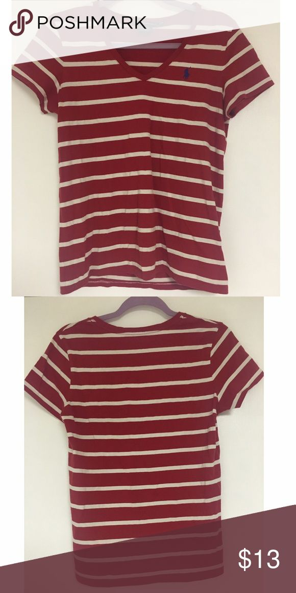 Ralph Lauren red tshirt Ralph Lauren red striped tshirt. In great condition! Size M Polo by Ralph Lauren Tops Tees - Short Sleeve