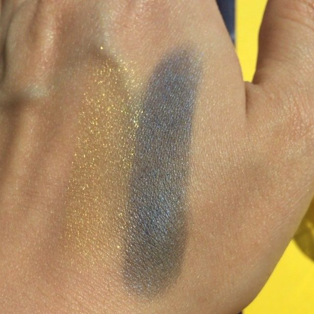 MAYBELLINE EYE STUDIO COLOR TATTOO METAL IN GOLD RUSH & ELECTRIC BLUE @maybelline @maybelline.se @maybellinenordics #maybelline #smink #eyeshadow #electric#ögonskugga #makeup #everythingbrightandshinny #glam #makeupjunkie #hot#sexy #glamglow #metalic #gorgeous #shimmer #wow #glitter #glow#metalic#wow#sparkle#motd #maybellinenewyork #fitme #gold #blue #electricblue #swatch#swatches