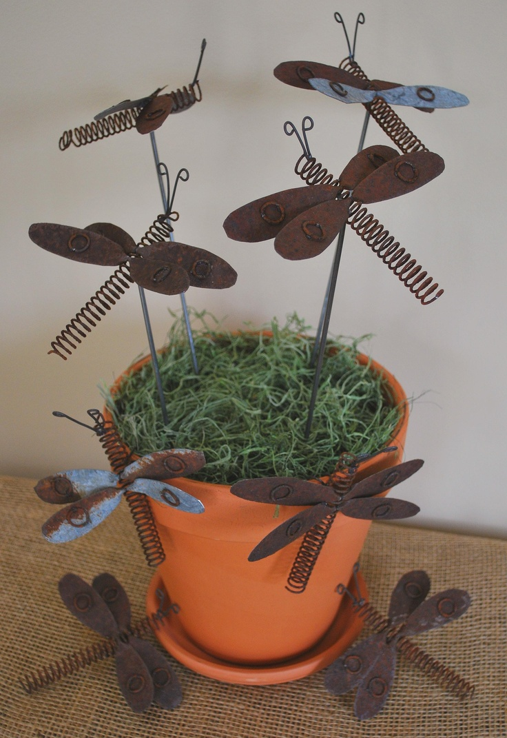 Sonja used the reclaim paint color pebble by caromal colours a - Rusty Tin Garden Dragonflies