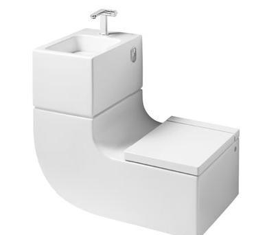 Water besparen door wasbak en wc in een