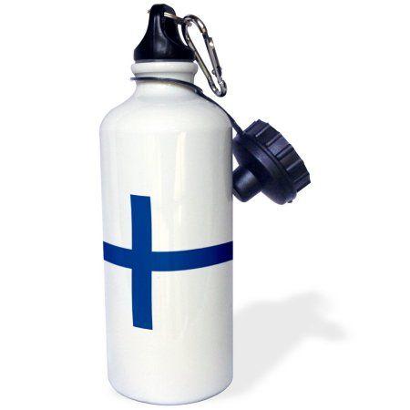 3dRose Flag of Finland - Finnish blue Nordic cross on white - Scandinavian cross - Europe Scandinavia world, Sports Water Bottle, 21oz
