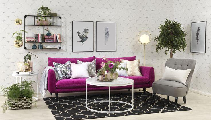 Milano soffa, Accent marmorbord, Anna fåtölj, Wall vägghylla.. Em home