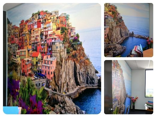 The finished piece - a wall mural of the  Cinque de Terre in Italy! Installed in the Wallcreations office in Melbourne.
