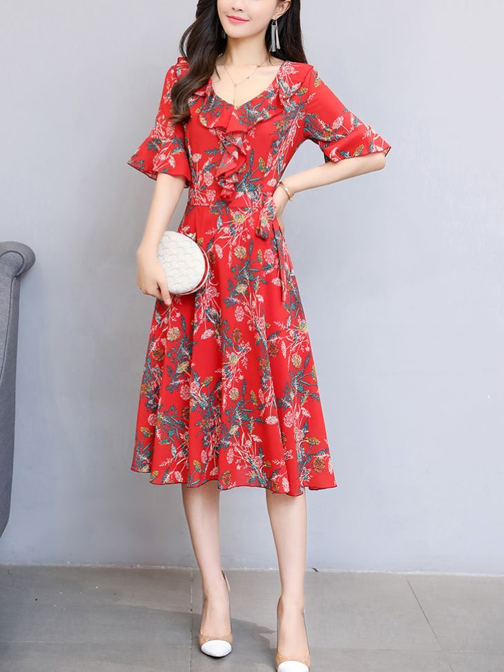Ethods Slim Flower Lady Dress(Size:M-XXL) _Short Sleeve Dress_DRESSES_Wholesale clothing, Wholesale Clothes Online From China