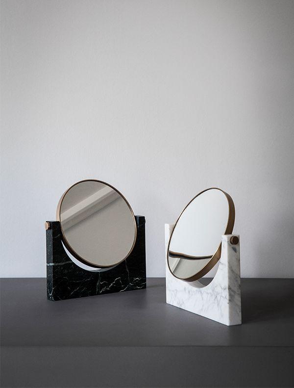 Pepe Marble Mirror, Brass, White - MENU A/S