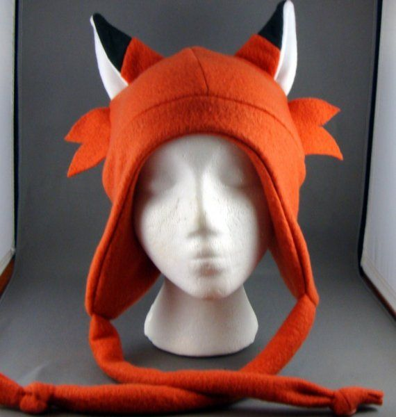 whisker fox orange aviator animal beanie fleece hat