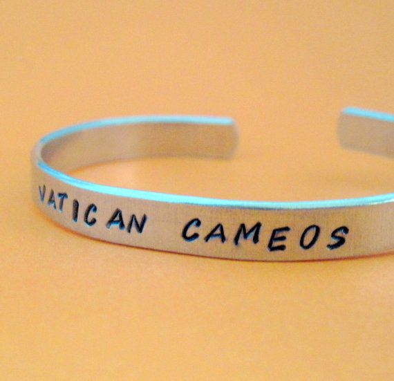Sherlock Inspired Bracelet  Vatican Cameos Hand Stamped Aluminum Cuff Just bought one, soooooo excited!!!!!