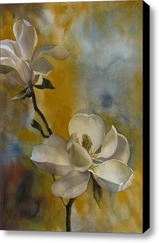 Magnolia With Yellow Stretched Canvas Print / Canvas Art By Alfred Ng