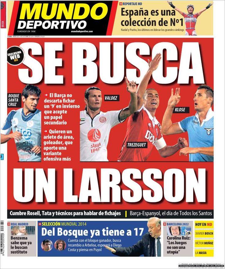 Los Titulares y Portadas de Noticias Destacadas Españolas del 9 de Octubre de 2013 del Diario Mundo Deportivo ¿Que le pareció esta Portada de este Diario Español?