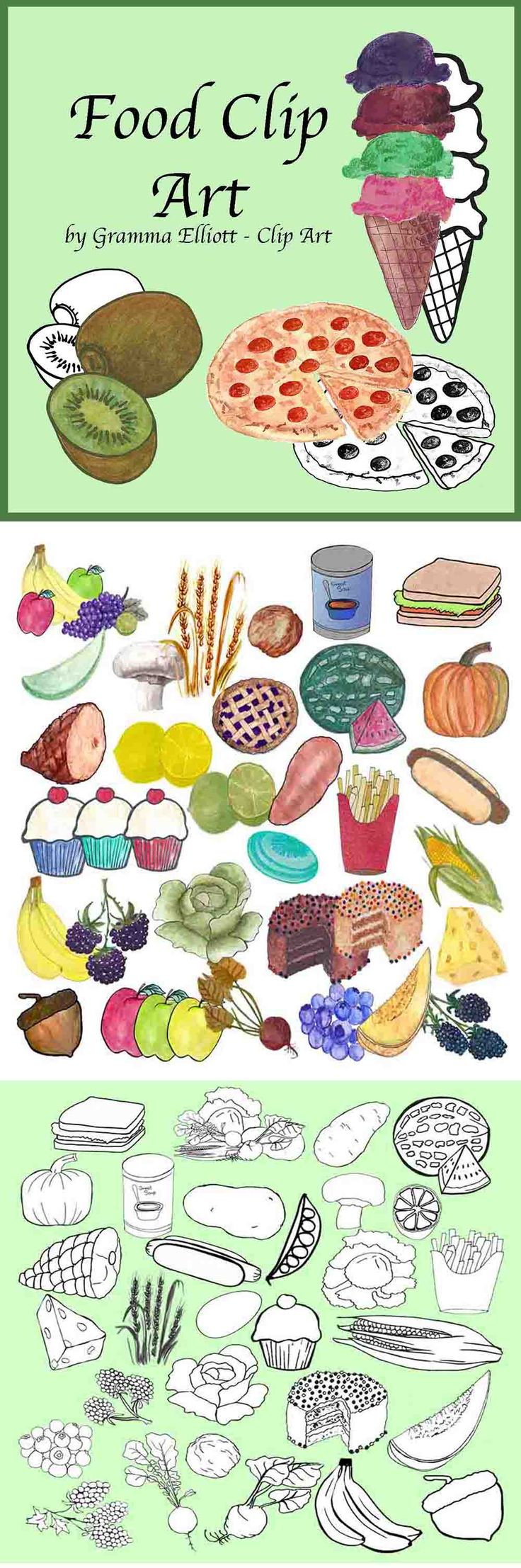 Acorn, Apple, Bananas, Beet, Blackberries, Blueberries, Lettuce, Cake, Cantaloupe, Cheese, Corn, Cupcakes, Egg, Fries, Grapes, Ham, Honeydew rind, Hot dog, Ice cream cone, Kiwi Lemons, Lettuce, Limes, Mushroom, Peas, Pie, Pizza, Pretzel, Pumpkin, Radish, Red Raspberries, Sandwich, Soup, Spud (potato), Vegetables, Walnut, Watermelon, Wheat, and Yam.   Food Clip Art includes these items in black line clip art and at least one color clip for each image. Each image is in .PNG format at 300 DPI.