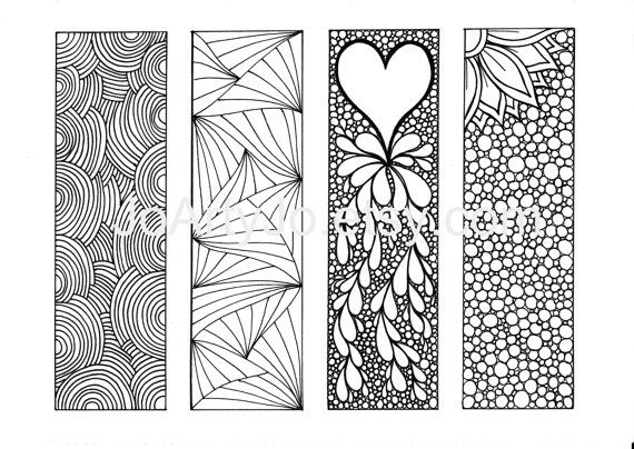 Zendoodle Bookmarks DIY, Valentines Bookmarks Zentangle Inspired Printable Coloring, Digital Download, Sheet 2
