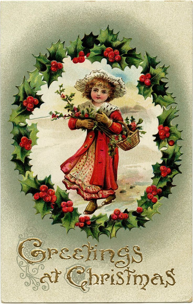 Wreath from old christmas cards - Victorian Postcard Graphics Vintage Postcard Christmas Postcard Old Fashioned Christmas Card Victorian