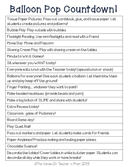 Are you planning an End of Year COUNTDOWN? This is a great list of ideas to help you with the fun!