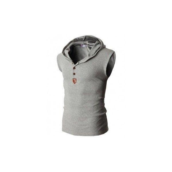 Summer Mens Solid Color Sleeveless Vest Hooded Gilet Breathable Cotton... ($14) ❤ liked on Polyvore featuring men's fashion, men's clothing, men's outerwear, men's vests, t-shirts & vest, white, mens button sweater vest, mens summer vests, mens slim fit vest and mens vest