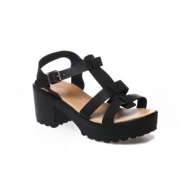 Sandales à plateforme noires crantées