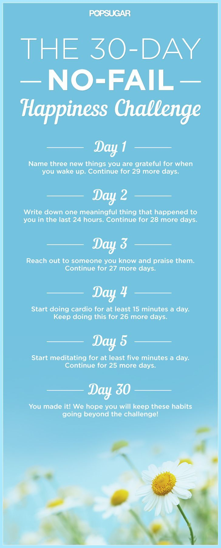 30-Day Happiness Challenge love this! So I took someone's advice not so long ago and began meeting the eyes of people who pass me and saying hello/good morning and also compliment (sincerely) at least one person a day. Changed my whole perspective and makes my days better!