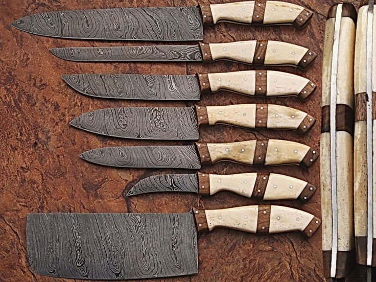 Custom made damascus blade 7 Pc's Shef's/Kitchen knife set DR-1007-C