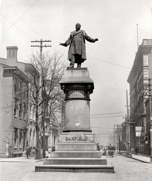 """Cincinnati, Ohio, circa 1906. """"Garfield statue."""" Our 20th president, cut down by an assassin's bullet and put up on a pedestal."""