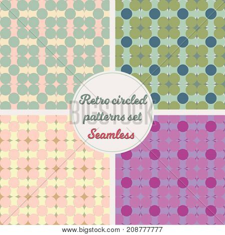A set of seamless patterns with retro colored circles. Vector EPS