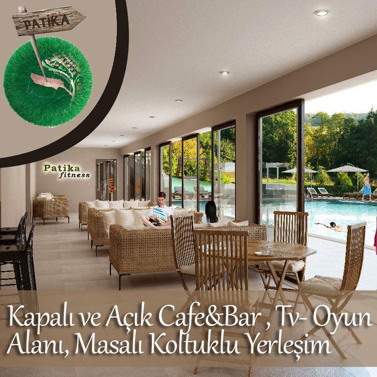 Bademli Patika Evlerinde, kapalı ve açık cafe&bar, tv - oyun alanı, masalı koltuklu yerleşim ile rahat bir sosyal ortama sahiptir. #bademli #patika #ev #villa #bursa #cafe #bar #sosyal